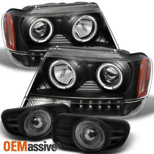 Fits 99 04 Grand Cherokee Halo Projector Headlights smk Halo Projector Fog Lamps