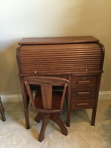 Antique Vintage Child Kid Roll Top Hardwood Desk Swivel Chair Drawers Cubbies