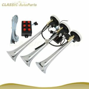 With Wired Remote Chrome Plated Musical Loudest Air Horn 6 Tune 3 Trumpet 12v