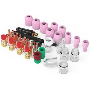 68pcs Tig Welding Torch Stubby Gas Lens Pyrex Glass Cup Kit For Wp 17 18 26