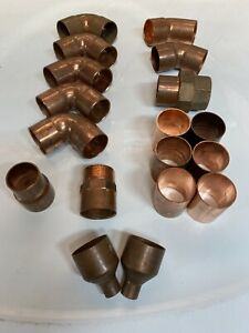 Lot Of 18 Misc 1 1 2 Inch Copper Fittings 90 Coupling Union Adapters 45