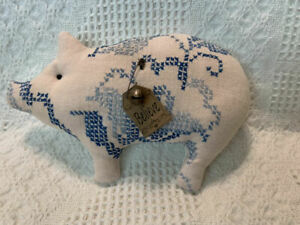 Primitive Antique Hand Embroidered Farmhouse Pig Pillow Tuck Ornie Believe