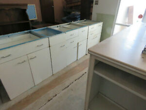 Huge St Charles Entire Vintage Kitchen Metal Cabinets With Corian Center Island