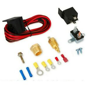 Car Electric Cooling Fan Wiring Harness 185 Thermostat Temp Switch Relay Kits F