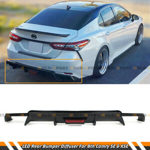 For 2018 2021 Toyota Camry Se Xse Glossy Black Rear Bumper Diffuser W Led Light