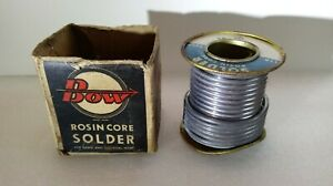 Vintage Bow Rosin Core Solder And Box For Radio And Electronics