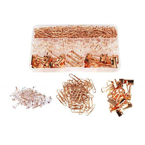 Rose Gold Desk Accessory Push Pins Binder Clips Paper Clips Office Supplies