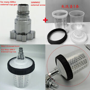 600ml Disposable Cup W m16x2 External Thread Connector For Pps Adapter Spray Gun