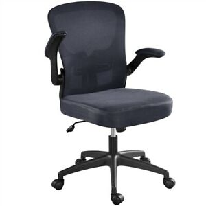 Mesh Office Chairs Desk Chairs With Flip up Arms Executive Chairs Dark Grey