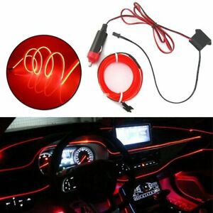 5meters Red Led Auto Car Interior Decor Atmosphere Wire Strip Light Lamp 12v New