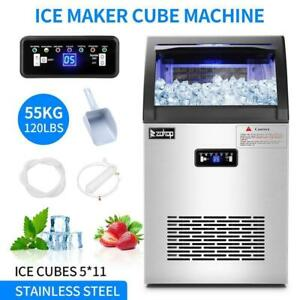 2 In 1 Commercial 55kg Ice Maker W water Dispenser 120lbs In 24hrs 24lbs Storage