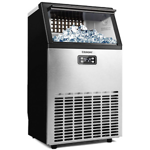 Euhomy Commercial Ice Maker Machine 100lbs 24h Stainless Steel Under Counter Ic