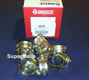 Breeze Hose Clamps Stainless Steel Band 10 Fits 5 8 Id Heater Hose Usa Made