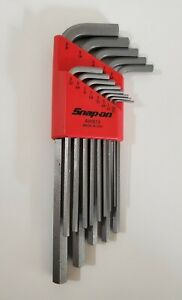Snap On Tools L shaped Hex Sae Wrench Set W holder 13 Keys 1 20 3 8 New
