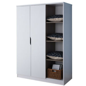 Saltoro Sherpi Wooden Wardrobe With Open Side Shelves White And Brown