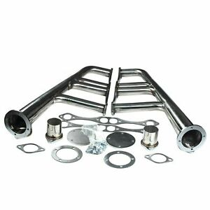 Exhaust Manifold Header Lake Style Steel Rat Rod For Chevy Sbc 265 400 V 8 New