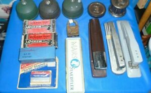 Vintage Lot Of Old Office Supplies Pencil Holders Staplers Staples