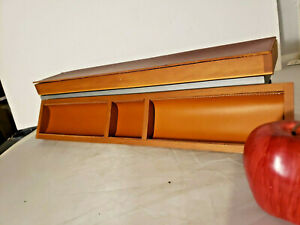 Italian Saddle Leather Top Wood Desk Drawer Organizer Travel Case By Pinetti