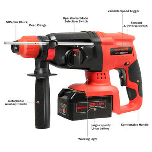20v Cordless Lithium ion Sds Plus Hammer Drill 3 Mode Drill Bits case Tool