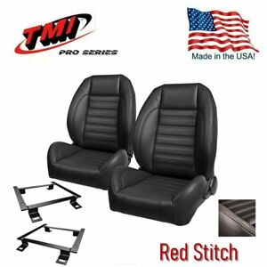 Tmi Pro Series W red Stitch Bucket Seats Brackets 1967 1969 Camaro In Stock