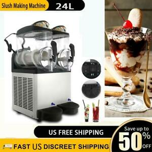 Commercial Slush Making Machine Frozen Drink Machine Ice Maker 2 Tanks 2x12l