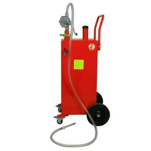 Red Professional Steel 30 Gallon Gas Caddy Fuel Diesel Dispense Transfer Tool