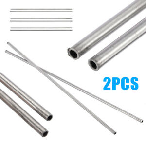 2pcs Silver 304 Stainless Steel Capillary Tube 4mm Od 3mm Id 250mm Length Tool