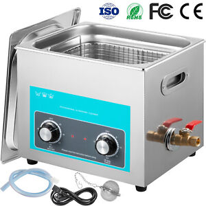 Vevor 10l 240w Ultrasonic Cleaner Stainless Steel Knob Control W Heater Timer