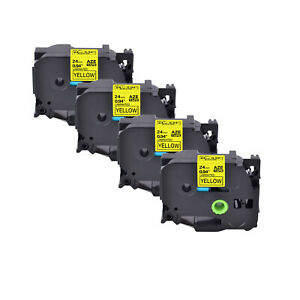 4pk Fits Brother P touch 0 94 Pt 1400 Tz 651 Tze 651 Black On Yellow Label Tape
