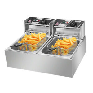 Electric Deep Fryer Fry Daddy With Basket 2 Tank Large Capacity 12 7q 5000w