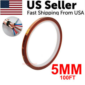 5mm 100ft Kapton Polyimide Tape Adhesive High Temperature Heat Resistant 33m Usa