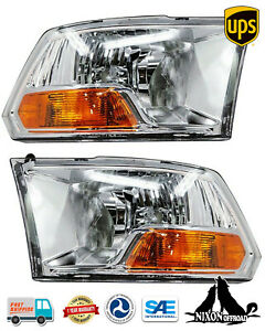 For 2009 2018 Dodge Ram 1500 2500 3500 Headlights Front Headlamps Pair Chrome