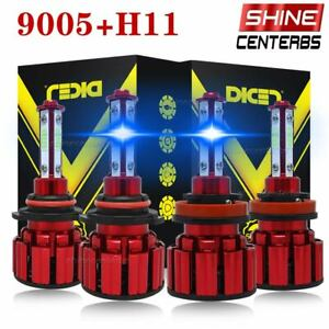 4 side Combo 9005 H11 Ice Blue 8000k Cob Led Headlight Kit Bulbs High Low Beam
