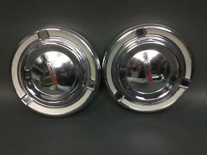 Pair Vintage Ford Mercury Hubcaps Lot Of 2 1960 S Chrome Dog Dish Nice