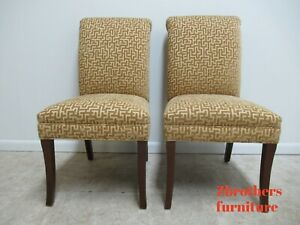 Pair Thomasville Rolled Back Parson Dining Room Side Chairs A