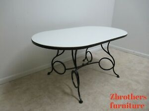 Vtg French Regency Wrought Iron Dining Room Table Milk Glass Top Coleman Kalick