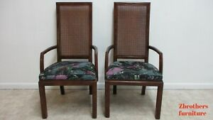 Pair Henredon Scene One Campaign Dining Room Arm Chairs
