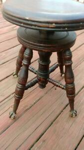 Beautifully Detailed Carved Antique Piano Stool W Cast Iron Glass Claw Feet
