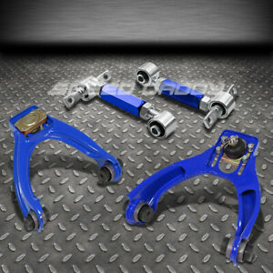 Blue 4pc Front Rear Camber Control Suspension Kits Arms 96 00 Civic Em1 Ej6 Ej8