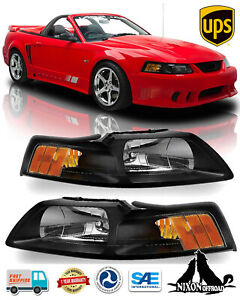 Black Clear Lens Headlights Front Lights Headlamps For 1999 2004 Ford Mustang