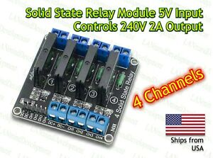 4 Channel 5v Dc Relay Module Solid State Low Level Ssr G3mb 202p 2a For Arduino