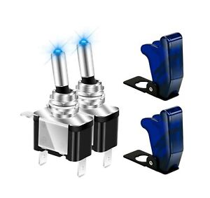 12v Blue Led Lighted Toggle Switch With Safety Cover Guard 3 Pin On Off Rocker 2