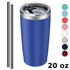 20oz Stainless Steel Tumbler Vacuum Insulated Cup Drink Mug Lid and Straw 8Color $9.99