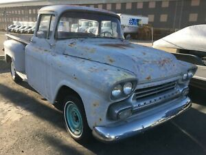 1958 Chevy Truck Long Bed Deluxe Cab 283 3 Speed Original Step Side