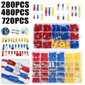 480 1200pcs Crimp Spade ring Terminal Insulated Electrical Wire Cable Connector