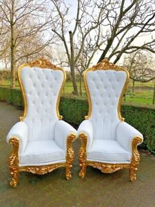 Baroque Style Throne Chairs In Tufted White Leather A Pair
