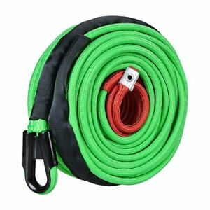 95ft 3 8 Green Recovery 22000lb Synthetic Winch Rope W Heat Rock Guard Sleeve