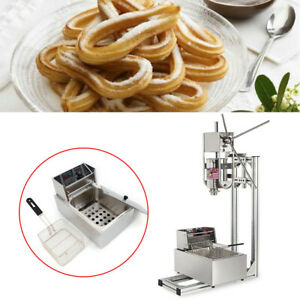 Stainless Steel Commercial Manual 3l Spanish Churros Making Machine W 6l Fryer