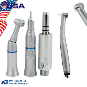4 Hole E type Dental High Low Speed Handpiece Kit Push Button Sandard 3 Spray Us