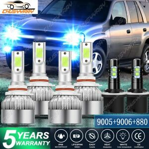 6pcs Ice Blue Led Headlight Fog Light Bulbs Kit For Chevy Trailblazer 2002 2005